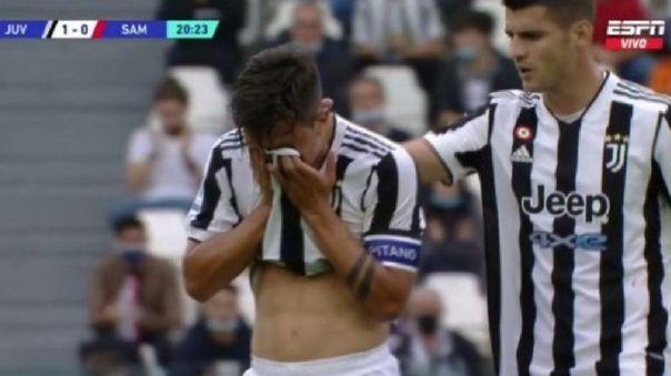 Paulo Dybala lesionado en duelo ante Juventus.