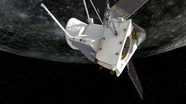 Ilustración artística de la misión orbitando Mercurio.