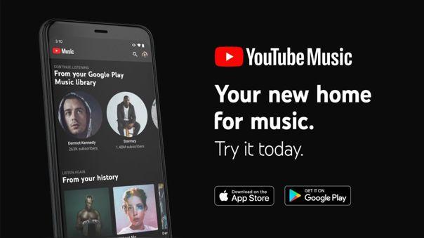 YouTube Music sucedió a Google Play Music.