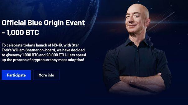 Jeff Bezos no anda regalando criptomonedas.