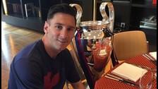 Messi desayunó con la copa de la Champions League