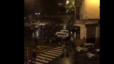 YouTube: hinchas del Manchester City y Sevilla se enfrentaron en calle de España