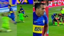 Carlos Tévez le propinó un rodillazo al arquero Luis Unsain