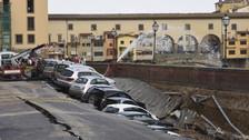 200 metros de pista se hundieron repentinamente en Italia