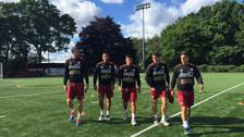 El combinado Bicolor entrenó por primera vez en el campo de la Universidad de Barbson College.