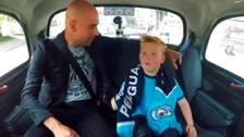 Guardiola sorprendió a un niño hincha de Manchester City en un taxi