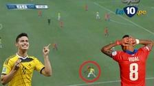 "James Rodríguez ""bailó"" a Arturo Vidal en el Colombia versus Chile"