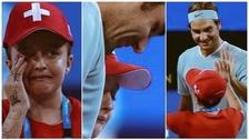 Al estar frente a Roger Federer: niña no aguantó y rompió en llanto