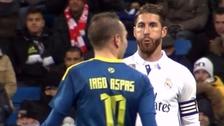 En la Copa del Rey: imágenes de Sergio Ramos escupiendo a Iago Aspas