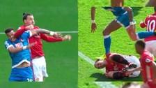 El artero codazo de Zlatan Ibrahimovic tras sufrir terrible pisotón