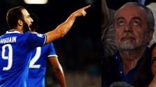 Higuaín anotó un doblete y le hizo un polémico gesto al presidente del Napoli