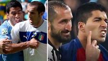 Así fue el reencuentro entre Luis Suárez y Chiellini