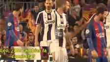 Bonucci le pidió la camiseta a Messi y Chiellini le dio un manotazo