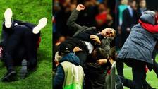 La caída de José Mourinho mientras festejaba por ganar la Europa League