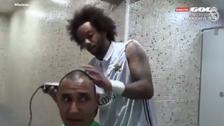 Así le rapó la cabeza Marcelo a Keylor Navas tras campeonar con el Real Madrid