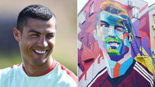 Cristiano Ronaldo aparece con pelo teñido de rubio en grafiti en Rusia