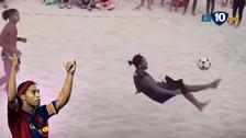 YouTube | Ronaldinho se lució en el futvoley: una 'chalaca' y otros lujos