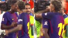 El abrazo entre Neymar y Semedo luego de ganarle al Real Madrid