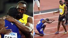 Usain Bolt fue ovacionado a pesar quedar en tercer lugar en su última carrera