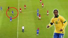 YouTube | Hincha invadió la cancha para abrazar a Ronaldinho, pero no lo encontró