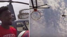 Basquetbolista hizo una canasta desde un helicóptero a 64 metros de altura