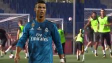 El golazo al ángulo de Cristiano Ronaldo en los entrenamientos del Real Madrid