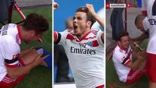 Anotó el gol del triunfo, celebró dando vueltas y se lesionó la rodilla