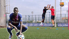 YouTube   Así fue el primer entrenamiento de Ousmane Dembélé en Barcelona