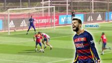 YouTube | Lucas Vázquez le hizo una 'huacha' a Piqué en práctica de España