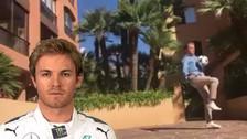 Video | Rosberg aceptó reto de Cristiano Ronaldo e hizo dominadas