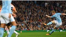 De Bruyne anotó un golazo de larga distancia en el triunfo del Manchester City