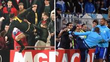 A lo Cantona: Patrice Evra le tiró una patada a un hincha y fue expulsado