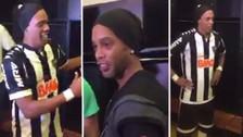 La reacción de Ronaldinho al encontrarse con su doble