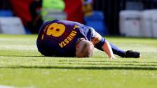 Iniesta recibió un duro pisotón en el clásico ante Real Madrid