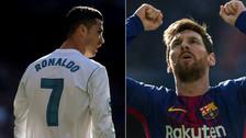 El saludo de Messi y Cristiano Ronaldo durante el Barcelona-Real Madrid