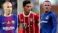 Iniesta y Rooney: las estrellas que más valor han perdido en el 2018