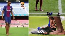 Barcelona: Yerry Mina pisó descalzo el césped del Camp Nou