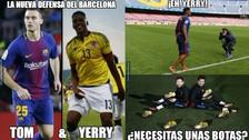 Yerry Mina es víctima de memes por sus primeros días como jugador del Barcelona