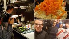 Cristian Benavente preparó ceviche y pisco sour para la prensa belga
