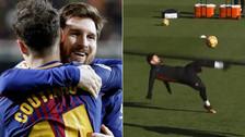 Messi brilló en la práctica de Barcelona: 'chalaca', golazos y más