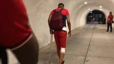 Sufre Gareca: la conmovedora imagen de Gallese caminando con muletas