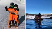 Cristiano Ronaldo y su novia se lucieron practicando esquí sobre hielo