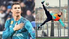 Cristiano Ronaldo repitió golazo de chalaca en práctica de Real Madrid