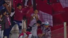 Niño en la tribuna contuvo violento remate de media distancia