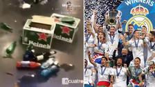 Así quedó el vestuario del Real Madrid por los festejos de la Champions