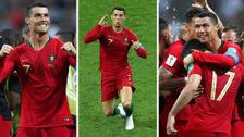 La celebración de Cristiano Ronaldo tras su doblete ante España
