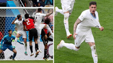 Así fue el golazo de Giménez para la agónica victoria de Uruguay