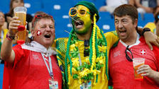 Fiesta, color y emoción en las tribunas del Brasil ante Suiza