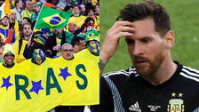 Hinchas brasileños se burlaron de Lionel Messi tras perder en Rusia 2018