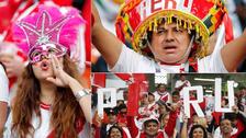 Hinchas peruanos arman la fiesta dentro del estadio de Ekaterimburgo